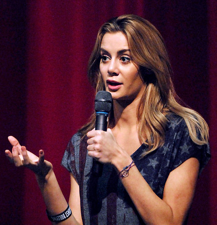 Former Anderson High School student Brittany Mason gave a anti-bullying talk to AHS students Wednesday morning.  The 2008 Miss Indiana USA contest winner told the teens about her personal experiences of being bullied for almost two years that led to her leaving AHS in 2003.