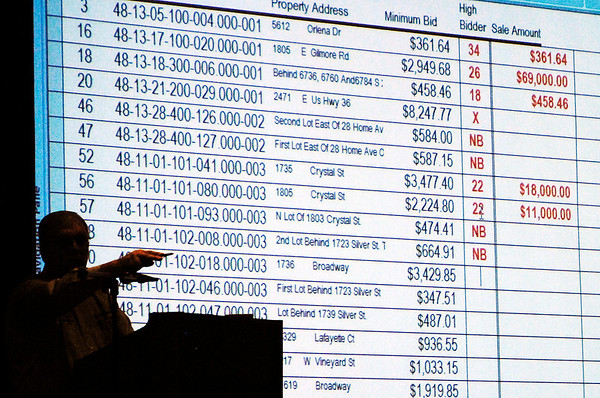 Glen Luedtke, of SRI Inc., points to a bidder as he conducts the Madison County Tax Sale Tuesday morning at the Anderson City Hall auditorium.  The county had more then 2,000 properties eligible for purchase at the sale.