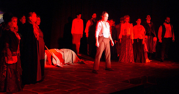 """Sweeney Todd ( Ed Paul Fry) and the Londoners in the Mainstage Theatre production of """"Sweeney Todd."""""""