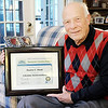 Don Knight/The Herald Bulletin<br /> Retired Anderson University Professor Duane Hoak received the Governor's Service Award for Lifetime Achievement.
