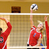 Don Knight/The Herald Bulletin<br /> Elwood's Katelyn Leisure attacks as the Panthers defeated Taylor 3-0 in the opening round of the Class 2A sectional at Alexandria on Tuesday.