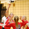 Don Knight/The Herald Bulletin<br /> Elwood's Kelsey Hughes sends the ball over the net as the Panthers defeated Taylor 3-0 in the opening round of the Class 2A sectional at Alexandria on Tuesday.