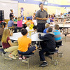Don Knight/The Herald Bulletin<br /> Anderson High School Athlete of Character Jordan Hill talks to fifth graders at Eastside Elementary about the Pillars of Character on Tuesday.