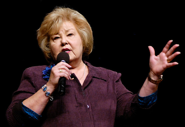 Gloria Gaither speaks at AU chapel.