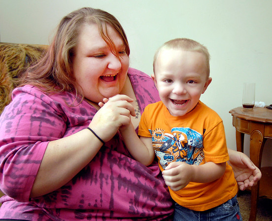 """Amber Lejeune plays with her three-year-old son Dylan in their Anderson home Monday.   Lejeune won $10,000 for her video of  Dylan, 3, from ABC's """"America's Funniest Videos"""" that aired Sunday night."""