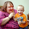 "Amber Lejeune plays with her three-year-old son Dylan in their Anderson home Monday.   Lejeune won $10,000 for her video of  Dylan, 3, from ABC's ""America's Funniest Videos"" that aired Sunday night."