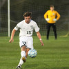 Photo by Chris Martin for The Herald Bulletin<br /> Pendleton's Nathan Collier takes a free kick near midfield Wednesday in a Sectional Semi Final against Fishers