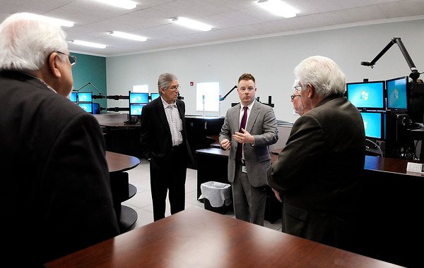 Don Knight | The Herald Bulletin<br /> Nick Capazolli, 911 Director, talks about Madison County's new Central Dispatch during an open house at the new building that houses Central Dispatch and EMA on Monday.