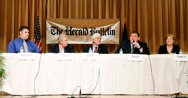 Don Knight | The Herald Bulletin<br /> Candidates for State Representative in district 32 and 53 take part in a debate sponsored by The Herald Bulletin at the city building on Thursday. From left are Libertarian candidate Rick Brown, incumbent Republican Bob Cherry,