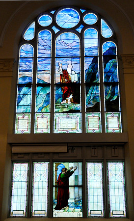 Don Knight | The Herald Bulletin<br /> Stained glass windows depict scenes from the bible at First Presbyteiran Church in Anderson. The church is hosting a Celebration of the Arts market 1 to 6 p.m. today to highlight local musicians. It will also hold a Fazoli's dinner 4 to 7 p.m. today.