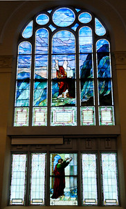 Don Knight | The Herald Bulletin Stained glass windows depict scenes from the bible at First Presbyteiran Church in Anderson. The church is hosting a Celebration of the Arts market 1 to 6 p.m. today to highlight local musicians. It will also hold a Fazoli's dinner 4 to 7 p.m. today.