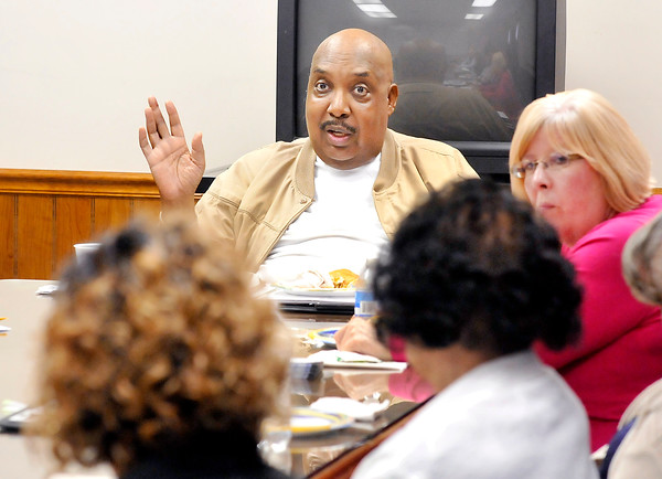 John P. Cleary   The Herald Bulletin<br /> The Anderson/Madison County Black Chamber of Commerce held a symposium on Race, Religion, and Politics Thursday. M. Lewis Hunt, one of the black chambers founders, headed up the discussion on the various topics.
