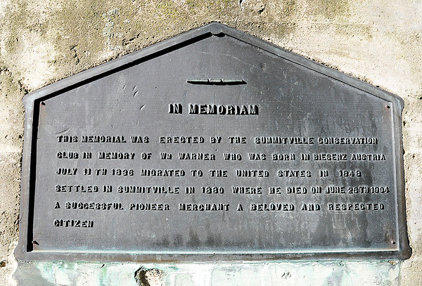 John P. Cleary | The Herald Bulletin<br /> this is the plaque on the William Warner Monument.