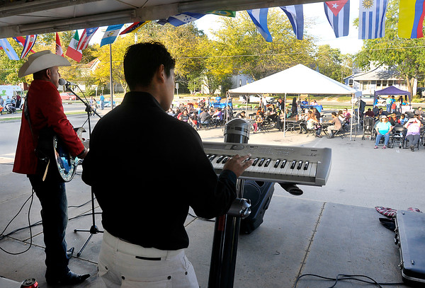 John P. Cleary |  The Herald Bulletin<br /> The band Los Panteras perform traditional Hispanic music for the crowd during the Hispanic Heritage Fiesta hosted by Madison County Community Health Center Saturday afternoon.