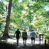 John P. Cleary | The Herald Bulletin   POH series<br /> Senior citizen Stephen Hedgecraft, right, comes out of the woods by the Great Mound at Mounds State Park with friends Greg Smith and Steve Dearing as they cover their 5-mile walk over the trails of the park.