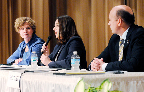 Don Knight | The Herald Bulletin<br /> From left, incumbent Republican Susan Brooks, Democratic candidate Angela Demaree and Libertarian candidate Matt Wittlief take part in a debate sponsored by The Herald Bulletin at the city building on Thursday.