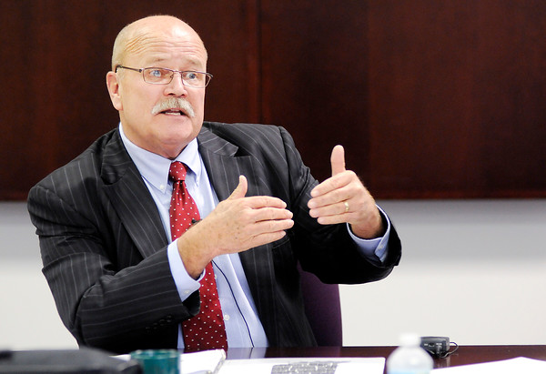 Don Knight | The Herald Bulletin<br /> Democratic candidate for governor John Gregg answers questions from CNHI editors on Wednesday.