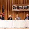 Don Knight | The Herald Bulletin<br /> County Council At Large candidates participate in a forum at the city building on Wednesday. From left are, Mike Gaskill, Brent Holland, Patti Helms, Lisa Hobbs, Bill Savage and Carletta Morrison.