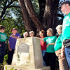 John P. Cleary | The Herald Bulletin<br /> Members of the Summitville Garden Club Becky DeLong, David Lecount, Opal Dickerson, Peggy Bailey, Tamblyn Bailey, Beverly Pacheco, Ronald Coffelt, and Janet Moore surround the William Warner Monument that the club fixed up just east of town on CR 1650 North.
