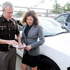 Don Knight | The Herald Bulletin<br /> Democrat Lt. Gov. candidate Christina Hale went on a ride along with Sheriff Scott Mellinger on Thursday.