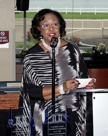 Mistress of Ceremonies Betty Williams welcomes the attendees to the Anderson /Madison County Black Chamber of Commerce 2016 Annual Banquet at Hoosier Park on Sunday evening.
