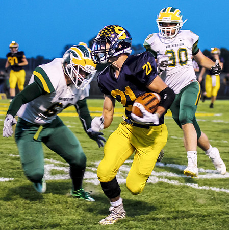 Chris Martin | for The Herald Bulletin<br /> Joe Huff runs the football for Shenandoah in a home sectional matchup against Northeastern on Friday night.