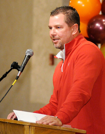 Don Knight | The Herald Bulletin<br /> Former IU basketball player Todd Leary was the guest speaker for The Christian Center's annual banquet at the Paramount on Thursday.