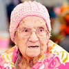 John P. Cleary |  The Herald Bulletin<br /> Betty Lawrence, 89, as crocheted about 130 hats for Community Hospital's  annual Keith Trent's Coats of Caring event.