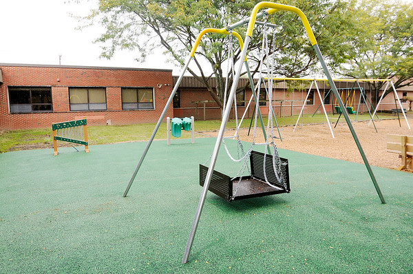 Don Knight | The Herald Bulletin<br /> Pendleton Elementary added equipment designed for special needs children including a swing, drums and a xylophone.