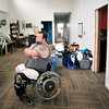 John P. Cleary |  The Herald Bulletin<br /> Disabled veteran Tim Senkowski in his house that was built for him but now has issues with things needing finished or fixed with the structure.