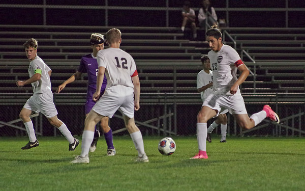 Mark Maynard | For The Herald Bulletin<br /> Christian Contreras lines up a kick during Anderson High School's Sectional match-up against perennial foe Muncie Central.