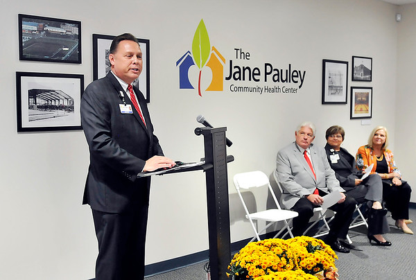 John P. Cleary |  The Herald Bulletin<br /> Marc Hackett, CEO, Jane Pauley Community Health Center, speaks at the grand opening of latest health center located in the historic Wigwam this past Wednesday.