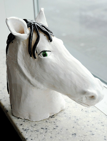 Don Knight | The Herald Bulletin<br /> Anderson High School junior Elizabeth Breese created this horse sculpture for Hoosier Park's ART-rageous show and auction.
