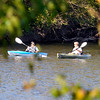 John P. Cleary |  The Herald Bulletin<br /> These kayakers, framed by the changing foliage in the park, enjoy a warm fall day on the water of Shadyside Lake Saturday afternoon.