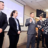 John P. Cleary |  The Herald Bulletin<br /> Anderson City Clerk Shelia Ashley, right, administers the oath of office to new Anderson Police officer Andrew Lanane as the other new officers, Adam Watters, left, Courtney Skinner, and Sean Brady look on during a swearing-in ceremony at APD headquarters Friday morning.