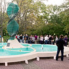 Mark Maynard | for The Herald Bulletin<br /> Alumni gather around the Helios Fountain for some fellowship and refreshments.