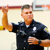 Don Knight | The Herald Bulletin<br /> State Trooper Eric Fields warns Alexandria-Monroe students about the dangers of sexting during a talk on internet safety on Thursday.