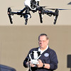 John P. Cleary |  The Herald Bulletin<br /> Madison County Emergency Management Agency Public Information Officer Todd Harmeson demonstrates their UAV, or Unmanned Aircraft Vehicle, the agency has for use in investigations and searches.