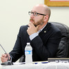 Don Knight | The Herald Bulletin<br /> School board member Jeff Barranco listens to a presentation by Johnson-Melloh about solar power on Wednesday. Barranco filled the board seat vacated by Ben Gale.