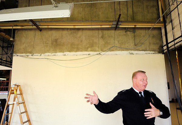 Don Knight | The Herald Bulletin<br /> AFD Chief Dave Cravens talks about renovations to AFD's headquarters on Tuesday.