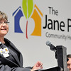 John P. Cleary |  The Herald Bulletin<br /> Carol Ellington, Wigwam site manager of The Jane Pauley Community Health Center, addresses those gathered for the grand opening of the new facility this past Wednesday.