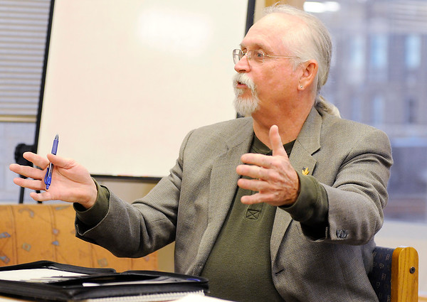 Don Knight   The Herald Bulletin<br /> Jack Cain, vice chair of the Indiana chapter of NORML, gives some history on the organization and medicinal use of marijuana during a meeting on Tuesday.