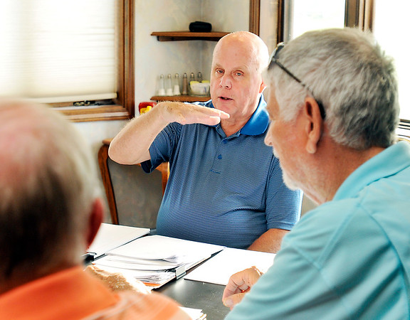 John P. Cleary | The Herald Bulletin<br /> Tom Austin, as president, conducts the meeting of the Elwood Optimist Club.