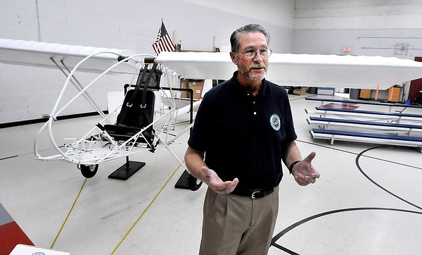 John P. Cleary | The Herald Bulletin<br /> Tom Beckenbauer, program director for Cupertino Aviation Clubs Build-and-Fly center, talks about the Cupertino Aviation Club and Anderson Preparatory Academy teaming up build interest in the aviation industry through three interconnected programs.