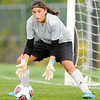 Don Knight | The Herald Bulletin<br /> Anderson goalie Evelyn Rodriquez makes a save as the Indias faced Fishers in the first round of the 3A Girls Soccer Sectional at Noblesville on Tuesday.