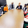 Don Knight | The Herald Bulletin<br /> Charles Peters talks with students involved with Anderson High School's 5A program. Clockwise from left are Damorion Page, Brianna Bryant, Charles Peters, Asia Coleman, Kelayjha Fleming, Byonne Williams and Antwana'e Whigham.