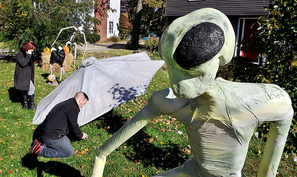 John P. Cleary   The Herald Bulletin<br /> Adam and Beth Fix hand build a Halloween display each year for their front yard at 1202 Maryland Drive in Anderson. Each year has a different theme, and this years theme is Aliens.