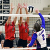 John P. Cleary | The Herald Bulletin<br /> Frankton's Chainey Lowe and Audrey Cleek jump to block the shot of Elwood's Maleah Ruder.