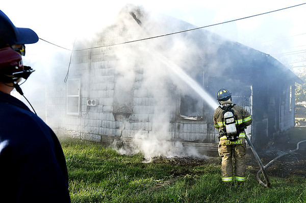 John P. Cleary   The Herald Bulletin<br /> House fire on West 22nd Street, just west of of Brown Street.
