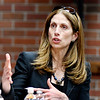 John P. Cleary | The Herald Bulletin<br /> Dr. Michele Malvesti, former senior director for Combating Terrorism Strategy, spoke to Anderson University students and staff Thursday about her career in national security.